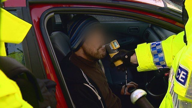 Driver being breathalysed