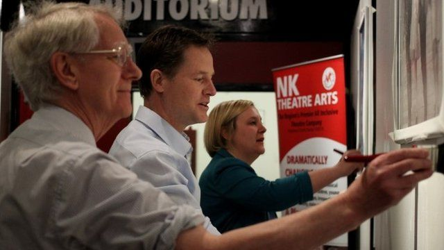 Liberal Democrat leader Nick Clegg with Prospective Parliamentary Candidate Lisa Smart (right) and standing down MP Andrew Stunell in Hazel Grove