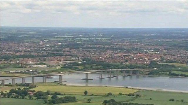 Aerial view of Orwell Bridge