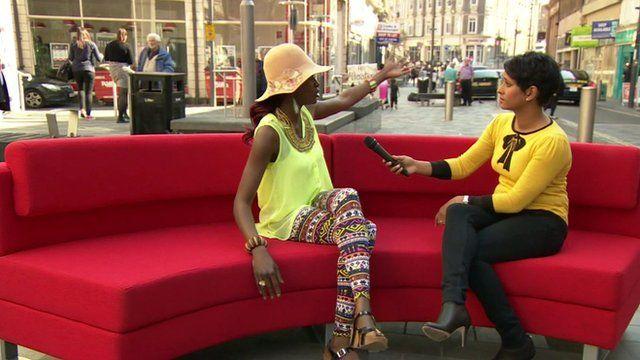 BBC's Naga Munchetty and a Newport Resident