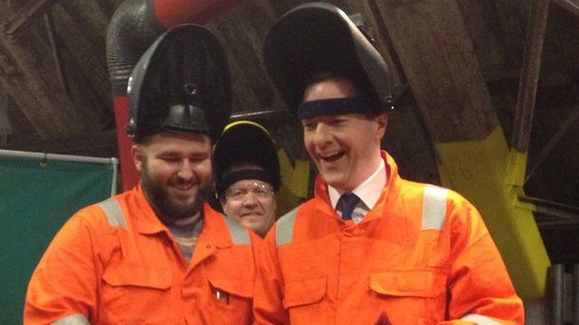 George Osborne visits an engineering firm in the Vale of Glamorgan
