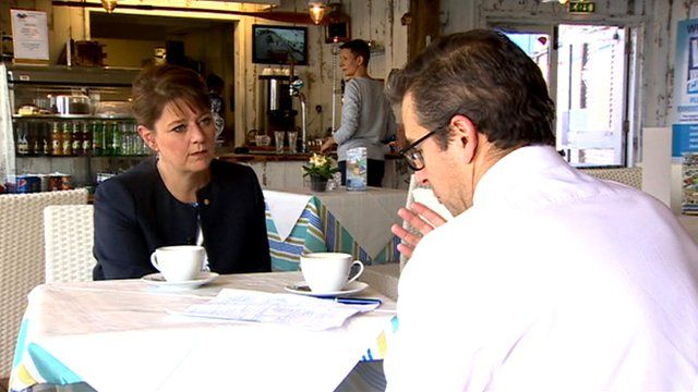Leanne Wood (l) and Nick Servini