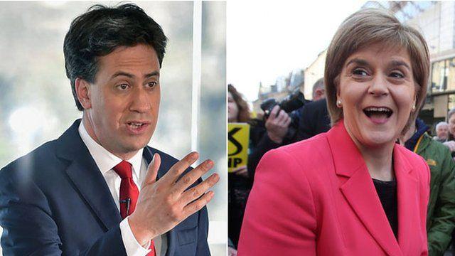 Composite image showing Ed Miliband and Nicola Sturgeon