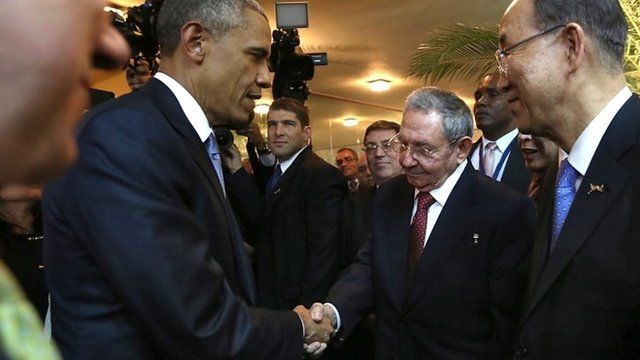President Obama and Raul Castro shaking hands