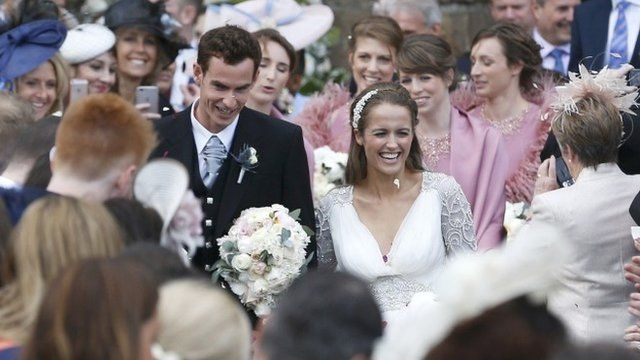 Andy Murray leaves the cathedral in Dunblane after his marriage to Kim Sears