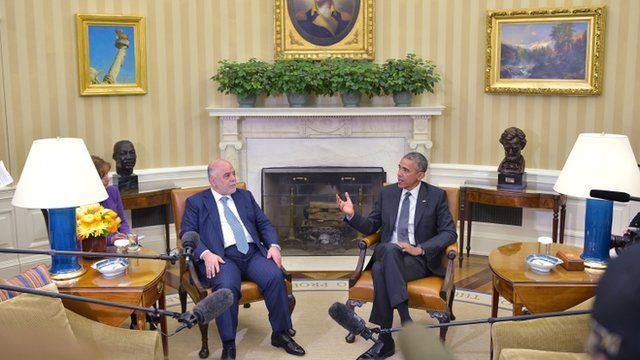 Iraqi Prime Minister Haider al-Abadi and President Barack Obama