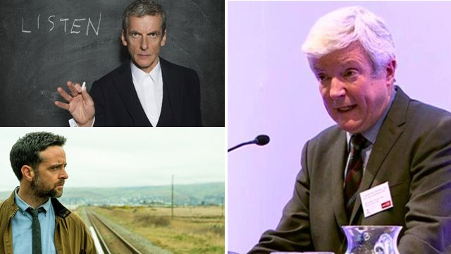 Lord Tony Hall and stills from Doctor Who and Hinterland