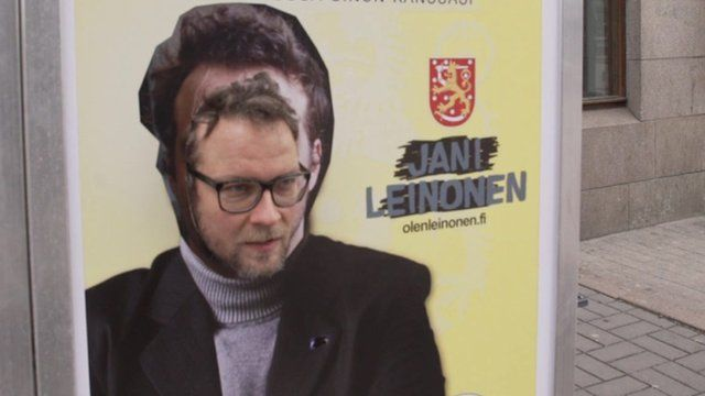 Jani Leinonen demonstrates his poster