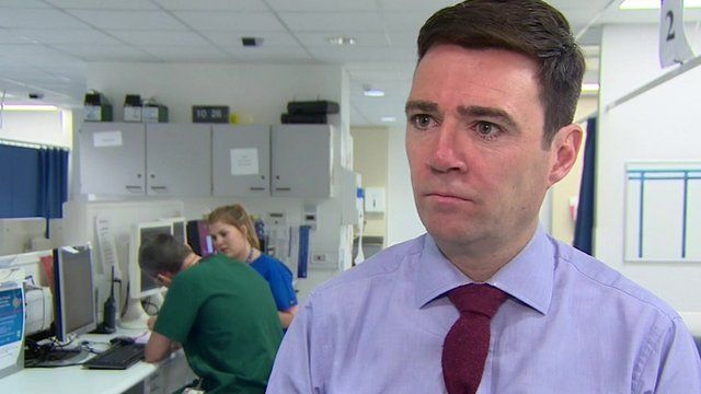 Shadow health secretary Andy Burnham speaking on a visit to Whiston Hospital A&E Unit