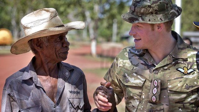 Prince Harry shakes hand with member of Wuggubun community