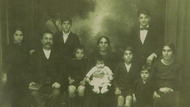 Family photograph from showing Armenian family who fled the Armenian genocide one hundred years ago.
