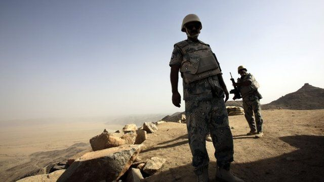 Saudi soldier stands alert at Yemen border