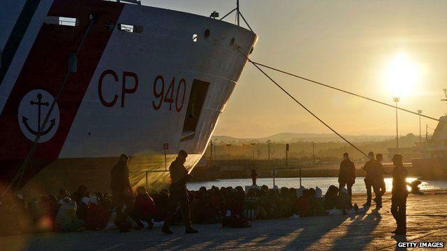Migrants in Augusta, Sicily