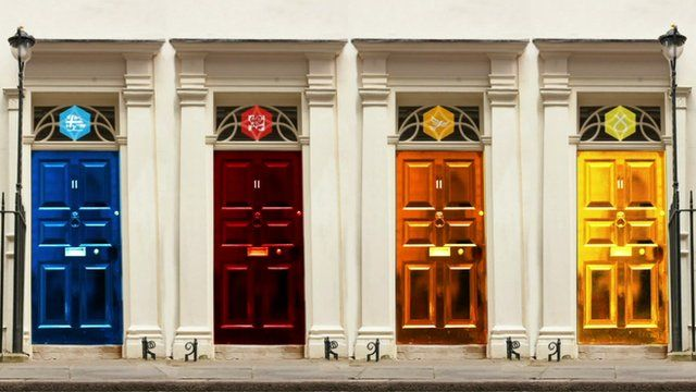 graphic image of 11 Downing Street with different colour doors
