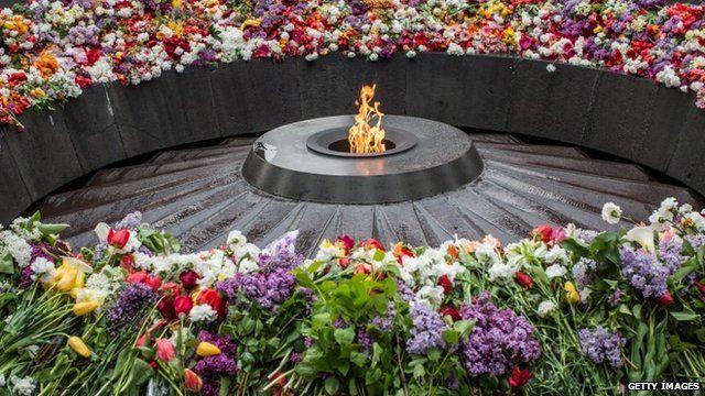 The eternal flame burns at the Armenian memorial on April 24, 2015 in Yerevan, Armenia