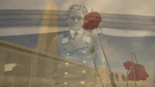 Image of Ronnie Faed who died in Gallipoli campaign mixed with image of poppies at a Gallipoli memorial