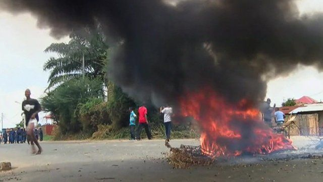 A fire amidst the protest