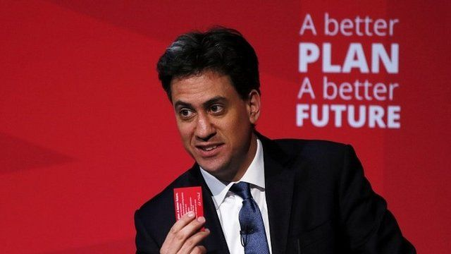 Ed Miliband holds up a pledge card during speech