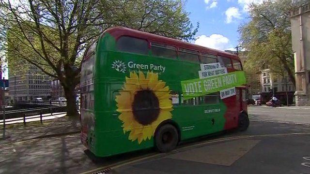 Green Party's battle bus
