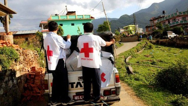 Relief truck on its way to Nepal mountain villages