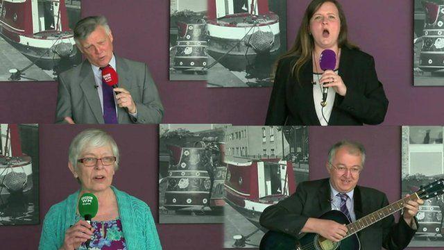 Four Birmingham election candidates singing