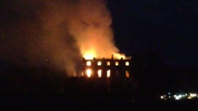 Clandon House on fire