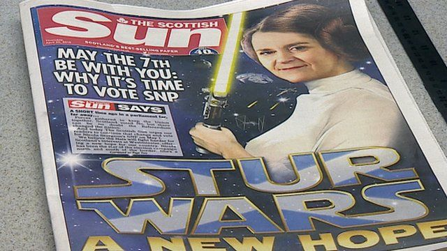Front page of the Scottish Sun newspaper