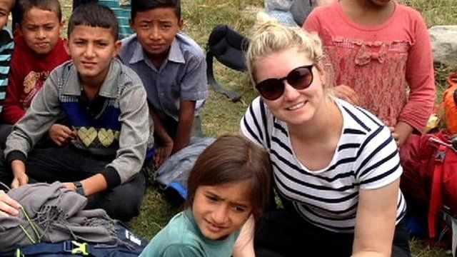 Louise Lock and Nepalese children