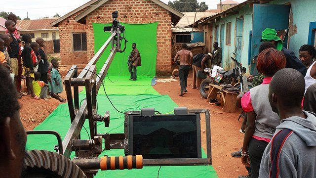 on set - the green screen