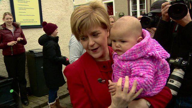 Nicola Sturgeon and a baby