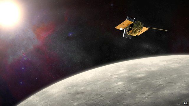 Illustration showing Nasa's Messenger probe in orbit around Mercury