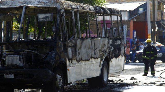 Bus set on fire in Guadalajara, Mexico