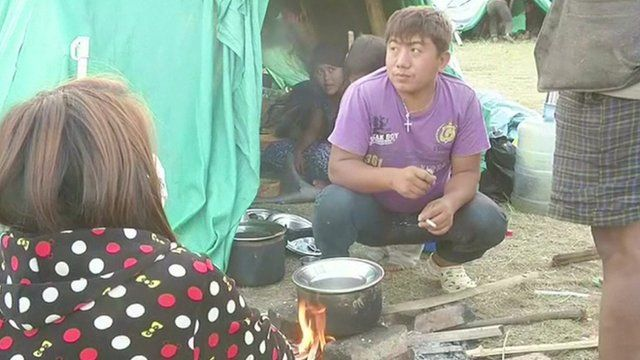 Survivors from Nepal earthquake camping