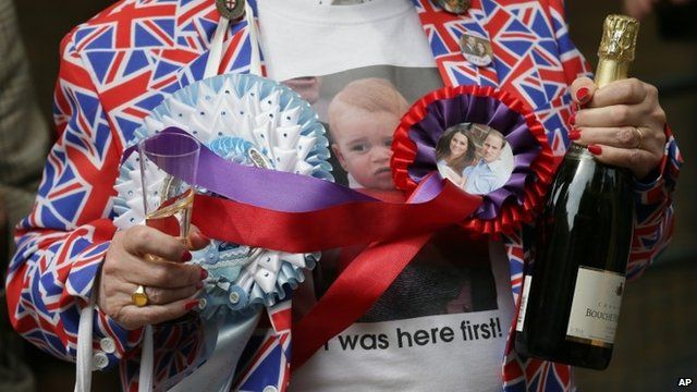 Woman with Union flag jacket and William and Kate rosette