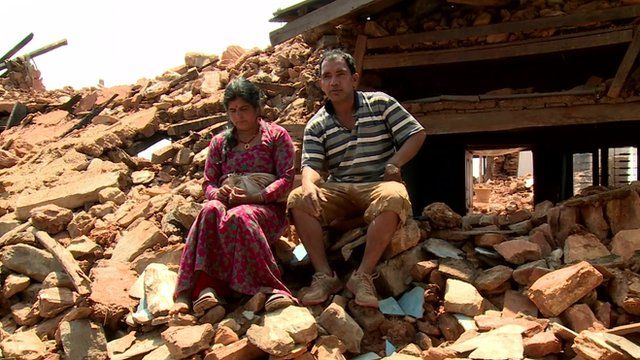 A couple who have been left homeless following the Nepal earthquake