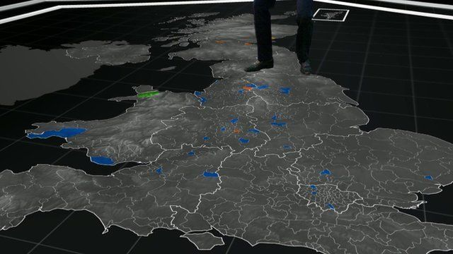 UK map with some key seats coloured in