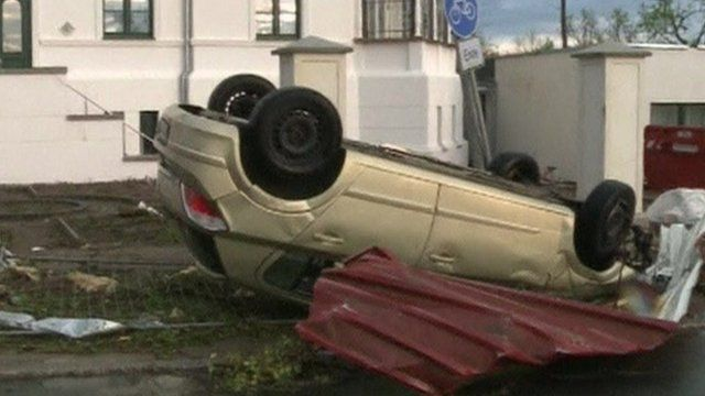 Car overturned in town of Buetzow, northern Germany