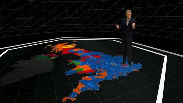 Jeremy Vine standing on election map