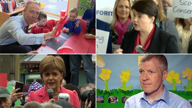 Jim Murphy, Ruth Davidson, Willie Rennie and Nicola Sturgeon