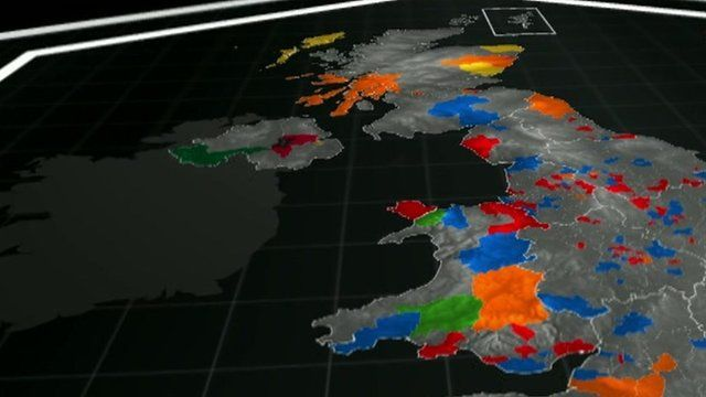 Electoral map of the UK, with some constituencies coloured in