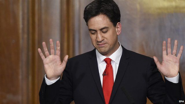 Labour leader Ed Miliband waves to supporters as he makes his resignation speech