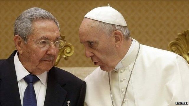 Cuban President Raul Castro with Pope Francis during a private audience at the Vatican, 10 May