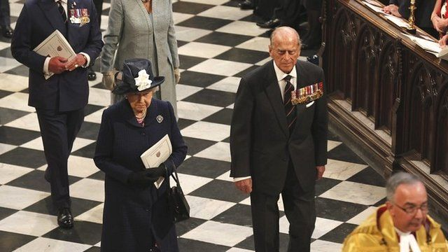 The Queen and the Duke of Edinburgh in Westminster Abbey, London
