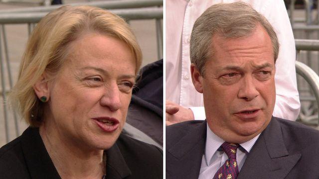 Natalie Bennett and Nigel Farage