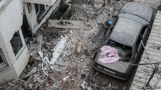 A dog wanders in the rubble of damaged houses after fighting between Macedonian police and an armed group in the town of Kumanovo