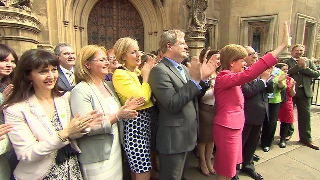 SNP Leader Nicola Sturgeon with fellow SNP MPs in Westminster