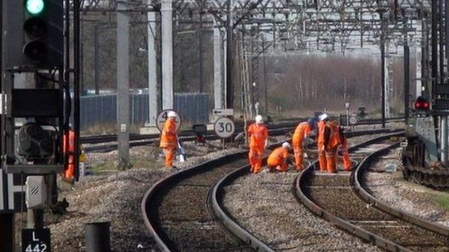 Network Rail workers maintaining track