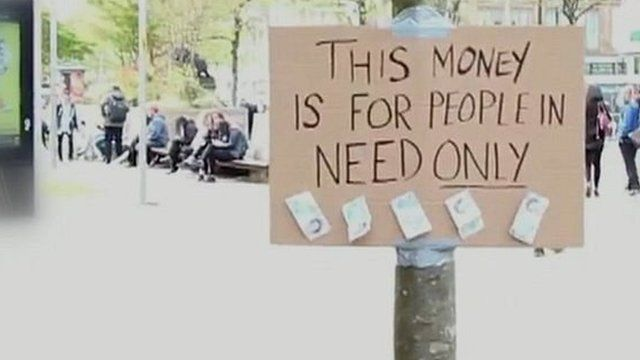 Sign with money attached