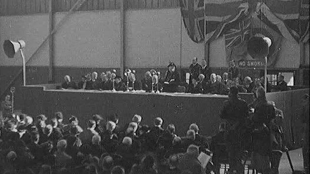 Mrs Neville Chamberlain opens new Belfast airport at Sydenham on 21 March 1983.