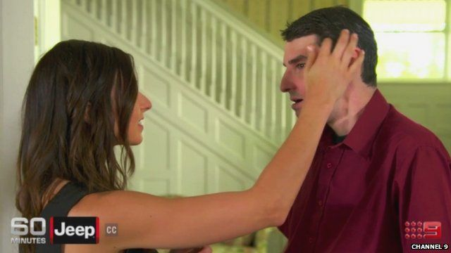 Rebekah Aversano touches the face of Richard Norris